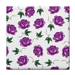 Purple Roses Pattern Wallpaper Background Seamless Design Illustration Tile Coasters