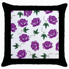 Purple Roses Pattern Wallpaper Background Seamless Design Illustration Throw Pillow Case (black) by Nexatart