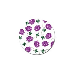 Purple Roses Pattern Wallpaper Background Seamless Design Illustration Golf Ball Marker (10 Pack) by Nexatart