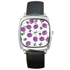 Purple Roses Pattern Wallpaper Background Seamless Design Illustration Square Metal Watch by Nexatart
