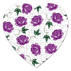 Purple Roses Pattern Wallpaper Background Seamless Design Illustration Jigsaw Puzzle (heart) by Nexatart