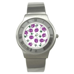 Purple Roses Pattern Wallpaper Background Seamless Design Illustration Stainless Steel Watch