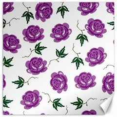 Purple Roses Pattern Wallpaper Background Seamless Design Illustration Canvas 16  X 16   by Nexatart