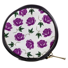Purple Roses Pattern Wallpaper Background Seamless Design Illustration Mini Makeup Bags by Nexatart
