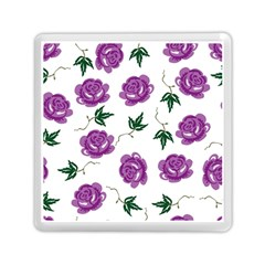 Purple Roses Pattern Wallpaper Background Seamless Design Illustration Memory Card Reader (square)  by Nexatart
