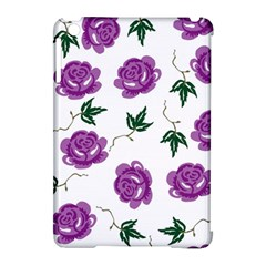 Purple Roses Pattern Wallpaper Background Seamless Design Illustration Apple Ipad Mini Hardshell Case (compatible With Smart Cover)