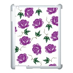 Purple Roses Pattern Wallpaper Background Seamless Design Illustration Apple Ipad 3/4 Case (white) by Nexatart