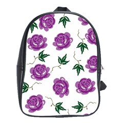 Purple Roses Pattern Wallpaper Background Seamless Design Illustration School Bags (xl)  by Nexatart