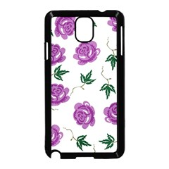 Purple Roses Pattern Wallpaper Background Seamless Design Illustration Samsung Galaxy Note 3 Neo Hardshell Case (black)