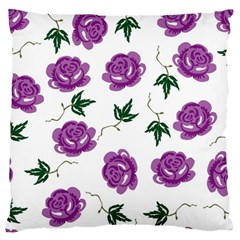 Purple Roses Pattern Wallpaper Background Seamless Design Illustration Large Flano Cushion Case (two Sides) by Nexatart