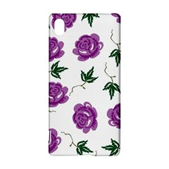 Purple Roses Pattern Wallpaper Background Seamless Design Illustration Sony Xperia Z3+ by Nexatart