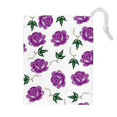 Purple Roses Pattern Wallpaper Background Seamless Design Illustration Drawstring Pouches (extra Large) by Nexatart