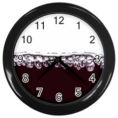 Bubbles In Red Wine Wall Clocks (black) by Nexatart