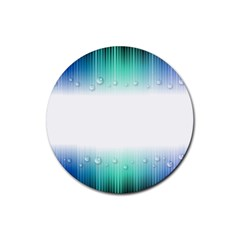 Blue Stripe With Water Droplets Rubber Coaster (round)