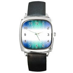 Blue Stripe With Water Droplets Square Metal Watch by Nexatart