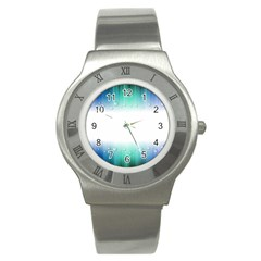 Blue Stripe With Water Droplets Stainless Steel Watch