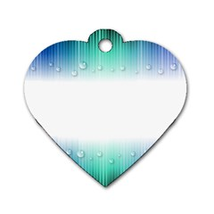 Blue Stripe With Water Droplets Dog Tag Heart (one Side)