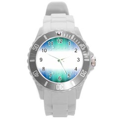 Blue Stripe With Water Droplets Round Plastic Sport Watch (l) by Nexatart