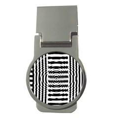 Black And White Abstract Stripped Geometric Background Money Clips (round)  by Nexatart