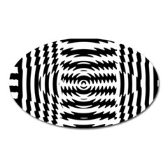 Black And White Abstract Stripped Geometric Background Oval Magnet by Nexatart