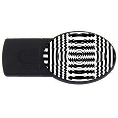 Black And White Abstract Stripped Geometric Background Usb Flash Drive Oval (2 Gb)