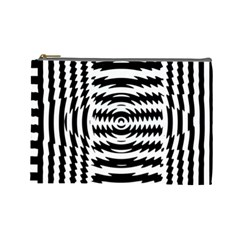 Black And White Abstract Stripped Geometric Background Cosmetic Bag (large)