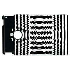 Black And White Abstract Stripped Geometric Background Apple Ipad 3/4 Flip 360 Case by Nexatart