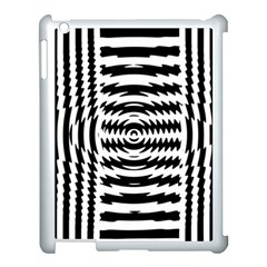 Black And White Abstract Stripped Geometric Background Apple Ipad 3/4 Case (white) by Nexatart