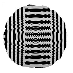 Black And White Abstract Stripped Geometric Background Large 18  Premium Round Cushions by Nexatart