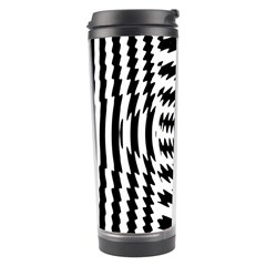 Black And White Abstract Stripped Geometric Background Travel Tumbler by Nexatart