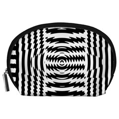 Black And White Abstract Stripped Geometric Background Accessory Pouches (large)