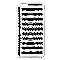 Black And White Abstract Stripped Geometric Background Apple Iphone 6 Plus/6s Plus Enamel White Case