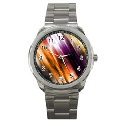 Colourful Grunge Stripe Background Sport Metal Watch by Nexatart