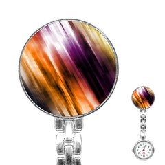 Colourful Grunge Stripe Background Stainless Steel Nurses Watch by Nexatart