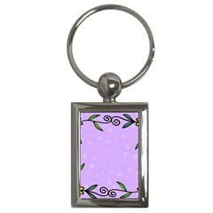 Hand Drawn Doodle Flower Border Key Chains (rectangle)  by Nexatart