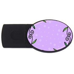 Hand Drawn Doodle Flower Border Usb Flash Drive Oval (2 Gb) by Nexatart