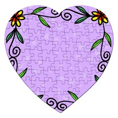 Hand Drawn Doodle Flower Border Jigsaw Puzzle (heart) by Nexatart