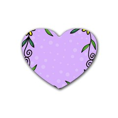 Hand Drawn Doodle Flower Border Heart Coaster (4 Pack)  by Nexatart