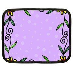 Hand Drawn Doodle Flower Border Netbook Case (large) by Nexatart