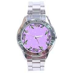 Hand Drawn Doodle Flower Border Stainless Steel Analogue Watch by Nexatart