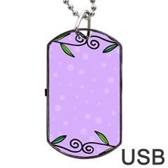 Hand Drawn Doodle Flower Border Dog Tag Usb Flash (one Side) by Nexatart