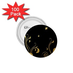 Golden Flowers And Leaves On A Black Background 1 75  Buttons (100 Pack)
