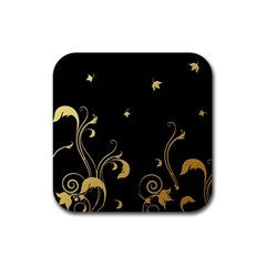 Golden Flowers And Leaves On A Black Background Rubber Coaster (square)  by Nexatart