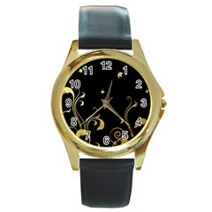 Golden Flowers And Leaves On A Black Background Round Gold Metal Watch by Nexatart