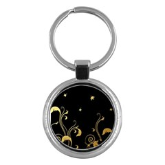 Golden Flowers And Leaves On A Black Background Key Chains (round)  by Nexatart