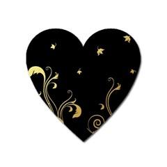 Golden Flowers And Leaves On A Black Background Heart Magnet by Nexatart