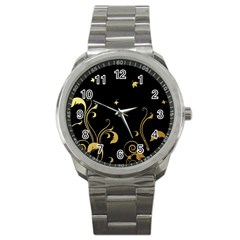 Golden Flowers And Leaves On A Black Background Sport Metal Watch by Nexatart