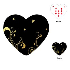 Golden Flowers And Leaves On A Black Background Playing Cards (heart)  by Nexatart