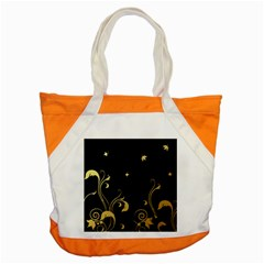 Golden Flowers And Leaves On A Black Background Accent Tote Bag by Nexatart