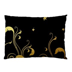 Golden Flowers And Leaves On A Black Background Pillow Case by Nexatart